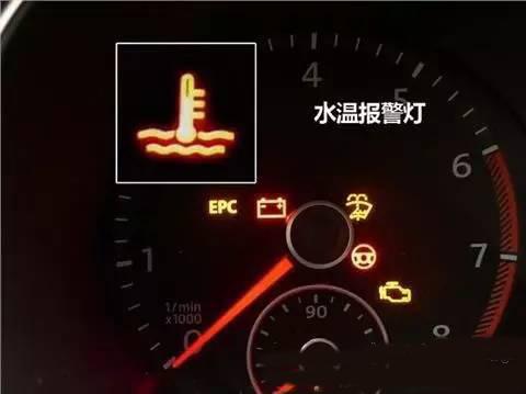 红色水温报警灯,亮起表示水温高,必须熄火